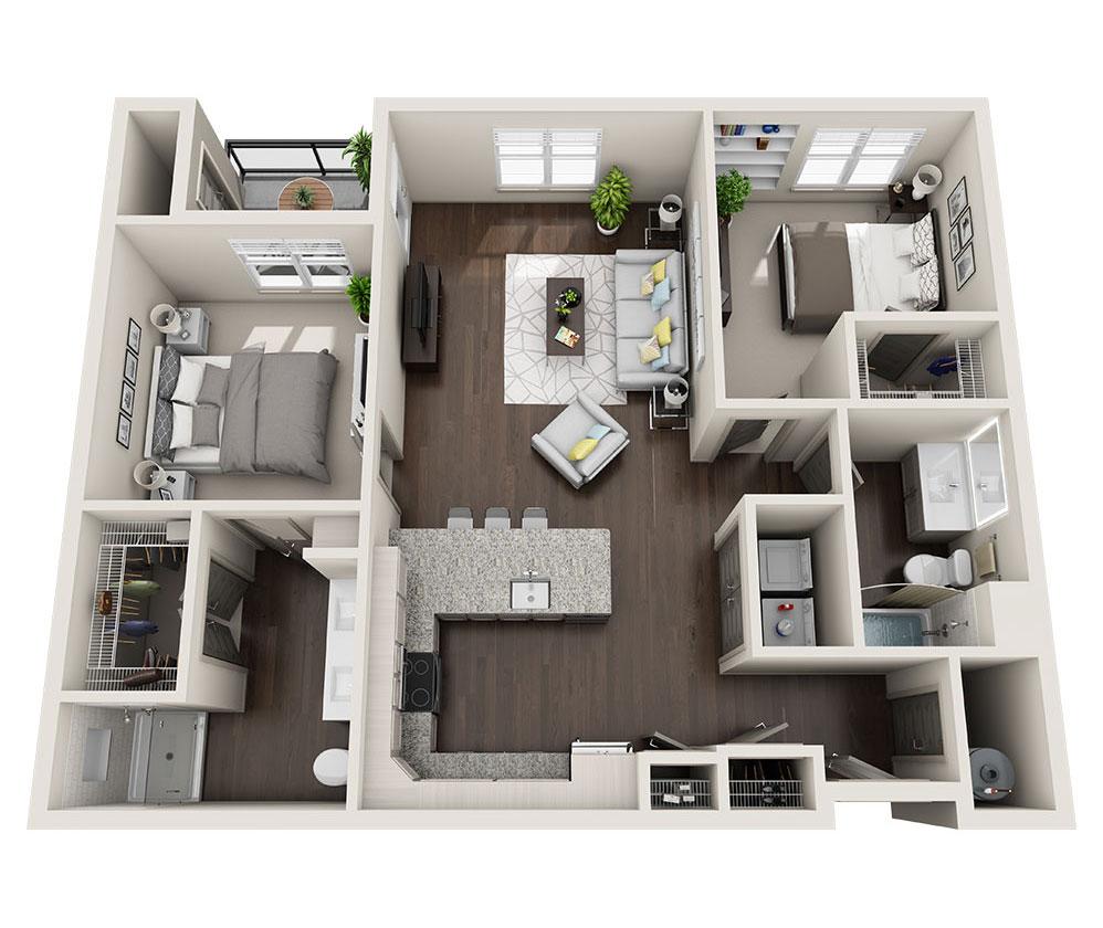 Beacon Station Apartments | Apartment B1 Floor Plan