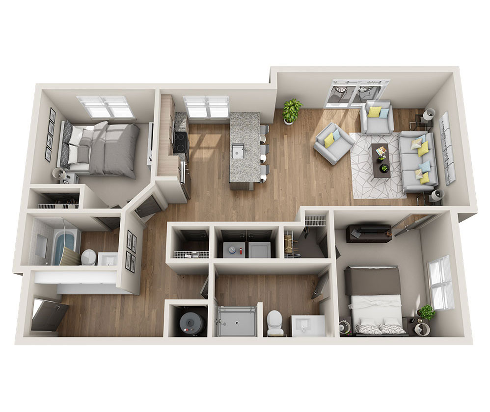 Beacon Station Apartments | Apartment B2 Floor Plan